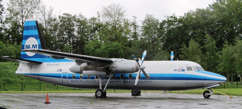 A retired KLM F50 turboprop aircraft