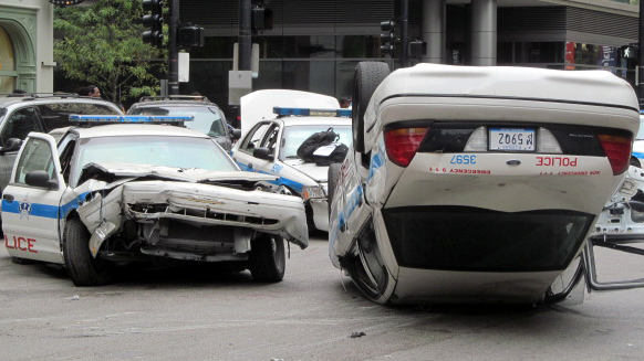 Crashed police cars in Chicago