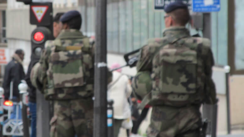 Troops on the streets of Paris in May 2016