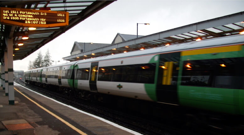 A Southern Railways train at Chichester, West Sussex.