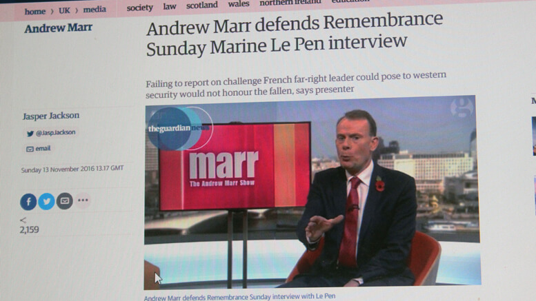 Andrew Marr defends the interview.